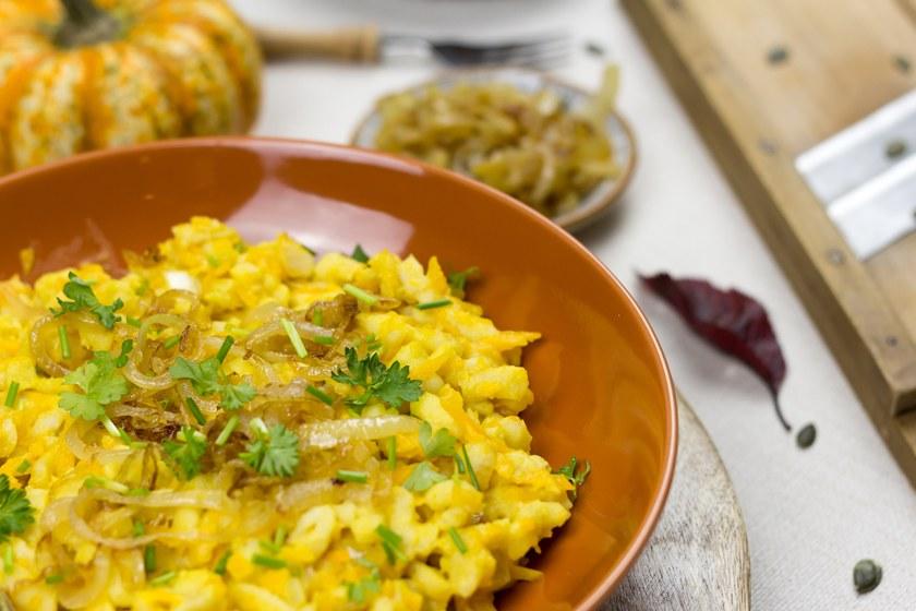 Kürbis Käsespätzle vegan und glutenfrei Rezept