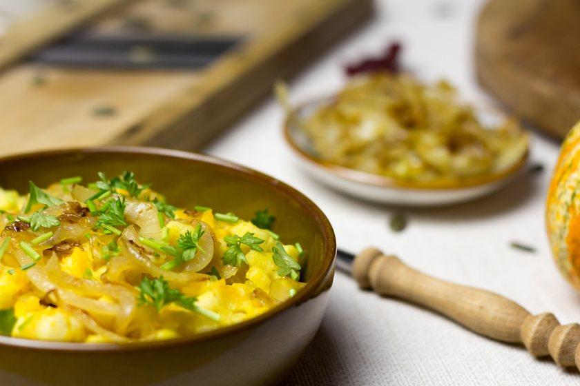 Vollkorn Kürbis Käsespätzle selbst gemacht Rezept vegan