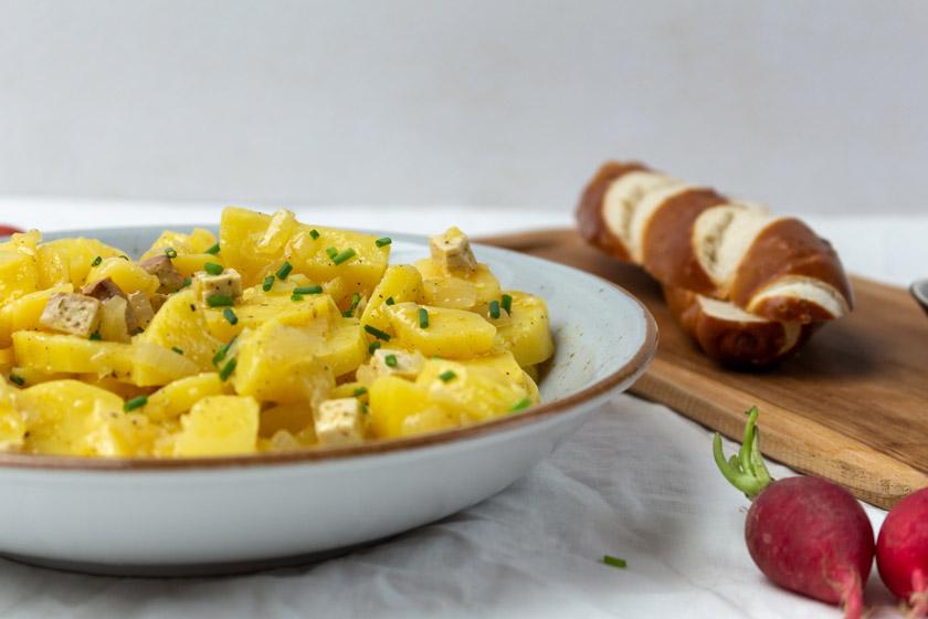Kartoffelsalat Rezept Essig und Öl vegan - purelimon.de