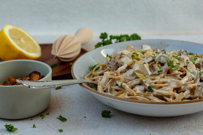 Spaghetti Carbonara mit Räuchertofu - purelimon