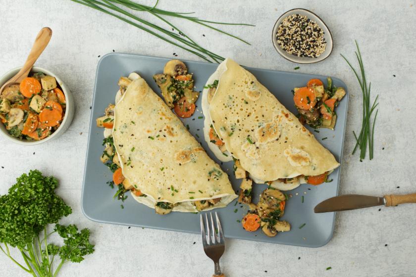 herzhafte Pfannkuchen mit Gemüse - purelimon