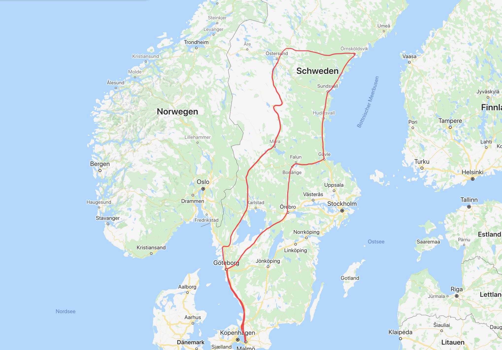 Reiseroute durch Schweden - purelimon