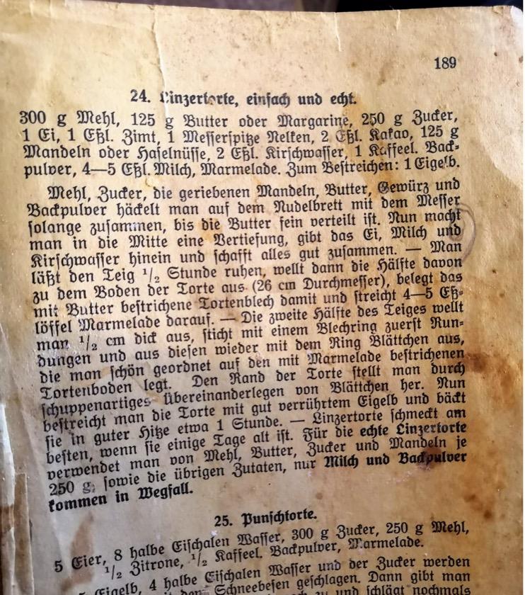 Omas Linzertorte Originalrezept aus den 40er Jahren